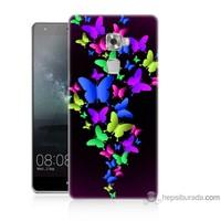 Bordo Huawei Mate S Kapak Kılıf Renkli Kelebekler Baskılı Silikon
