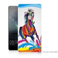 Bordo Huawei Mate S Kapak Kılıf Renkli At Baskılı Silikon