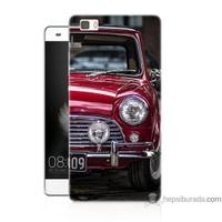 Bordo Huawei P8 Lite Kapak Kılıf Kırmızı Klasik Araba Baskılı Silikon