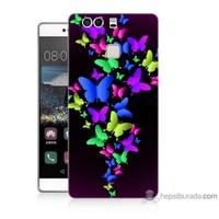 Bordo Huawei P9 Kapak Kılıf Renkli Kelebekler Baskılı Silikon