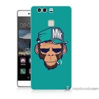 Bordo Huawei P9 Kapak Kılıf Sakallı Maymun Baskılı Silikon