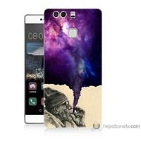 Bordo Huawei P9 Kapak Kılıf Hayal Gücü Baskılı Silikon