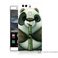 Bordo Huawei P9 Kapak Kılıf Flütlü Panda Baskılı Silikon