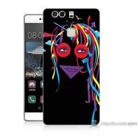Bordo Huawei P9 Kapak Kılıf Renkli Kız Baskılı Silikon