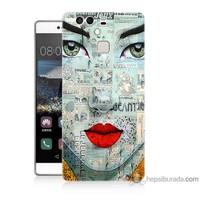 Bordo Huawei P9 Kapak Kılıf Karikatür Yüz Baskılı Silikon