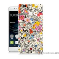 Bordo Huawei P9 Lite Kapak Kılıf Renkli Çiçekler Baskılı Silikon