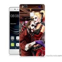 Bordo Huawei P9 Lite Kapak Kılıf Joker Ask Baskılı Silikon