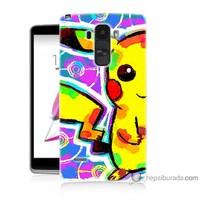 Bordo Lg G4 Stylus Kapak Kılıf Sevimli Pikachu Baskılı Silikon