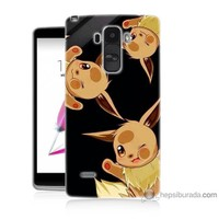 Bordo Lg G4 Stylus Kapak Kılıf Üçlü Pikachu Baskılı Silikon
