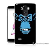 Bordo Lg G4 Stylus Kapak Kılıf Mavi Goril Baskılı Silikon