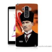Bordo Lg G4 Stylus Kapak Kılıf Atatürk Ve Bayrak Baskılı Silikon