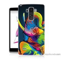 Bordo Lg G4 Stylus Kapak Kılıf Renkli Fil Baskılı Silikon