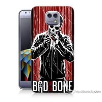 Bordo Lg X Cam Kapak Kılıf Bad Bone Baskılı Silikon