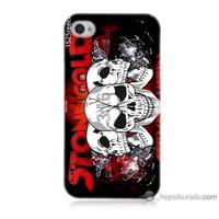 Bordo iPhone 4 Kapak Kılıf Yazılı Kuru Kafa Baskılı Silikon