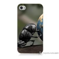 Bordo iPhone 4s Kapak Kılıf Dünyayı İten Böcek Baskılı Silikon
