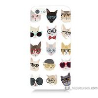 Bordo iPhone 5 Kapak Kılıf Gözlüklü Kediler Baskılı Silikon