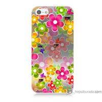 Bordo iPhone 5 Kapak Kılıf 3D Çiçek Baskılı Silikon