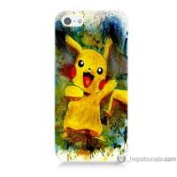 Bordo iPhone 5s Kapak Kılıf Tablo Pikachu Baskılı Silikon