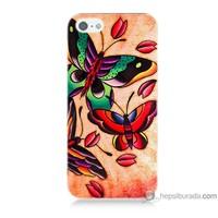 Bordo iPhone 5s Kapak Kılıf Kırmızı Kelebek Baskılı Silikon