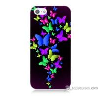 Bordo iPhone 5s Kapak Kılıf Renkli Kelebekler Baskılı Silikon