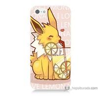Bordo iPhone 5s Kapak Kılıf Sevimli Pokemon Baskılı Silikon