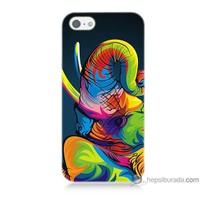 Bordo iPhone 5s Kapak Kılıf Renkli Fil Baskılı Silikon