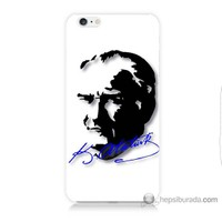 Bordo iPhone 6 Kapak Kılıf Atatürk İmza Mavi Baskılı Silikon