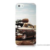 Bordo iPhone 5s Kapak Kılıf Korkunç Araba Baskılı Silikon