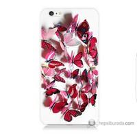 Bordo iPhone 6 Kapak Kılıf Pembe Kelebekler Baskılı Silikon