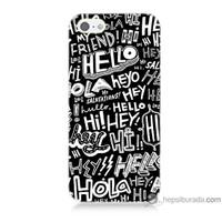 Bordo iPhone 5s Kapak Kılıf Hello Baskılı Silikon