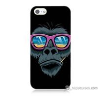 Bordo iPhone 5s Kapak Kılıf Gözlüklü Maymun Baskılı Silikon