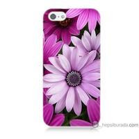 Bordo iPhone 5s Kapak Kılıf Mor Çiçek Baskılı Silikon