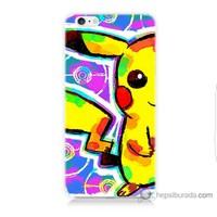 Bordo iPhone 6 Kapak Kılıf Sevimli Pikachu Baskılı Silikon
