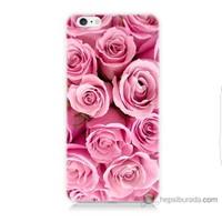 Bordo iPhone 6 Kapak Kılıf Pembe Gül Baskılı Silikon