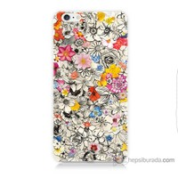 Bordo iPhone 6 Kapak Kılıf Renkli Çiçekler Baskılı Silikon