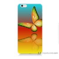 Bordo iPhone 6 Kapak Kılıf Sarı Kelebek Baskılı Silikon