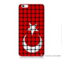 Bordo iPhone 6 Plus Kapak Kılıf Kareli Türk Bayrağı Baskılı Silikon