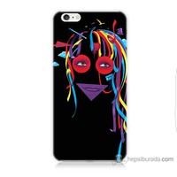 Bordo iPhone 6 Kapak Kılıf Renkli Kız Baskılı Silikon