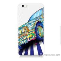 Bordo iPhone 6 Kapak Kılıf Mavi Araba Baskılı Silikon