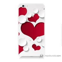 Bordo iPhone 6 Plus Kapak Kılıf 3D Kalp Baskılı Silikon