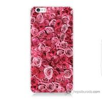 Bordo iPhone 6 Plus Kapak Kılıf Pembe Güller Baskılı Silikon