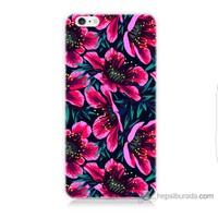 Bordo iPhone 6 Plus Kapak Kılıf Pembe Çiçek Baskılı Silikon