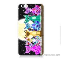 Bordo iPhone 6 Plus Kapak Kılıf Ay Ve Kediler Baskılı Silikon