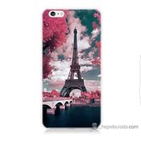 Bordo iPhone 6 Plus Kapak Kılıf İlkbahar Paris Baskılı Silikon