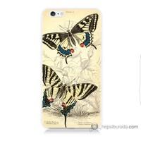 Bordo iPhone 6 Plus Kapak Kılıf Soft Kelebek Baskılı Silikon