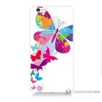 Bordo iPhone 6 Plus Kapak Kılıf Rengarenk Kelebek Baskılı Silikon