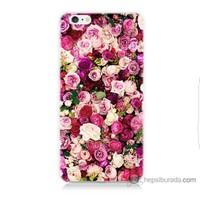 Bordo iPhone 6 Plus Kapak Kılıf Renkli Güller Baskılı Silikon