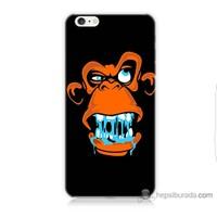 Bordo iPhone 6 Plus Kapak Kılıf Turuncu Goril Baskılı Silikon