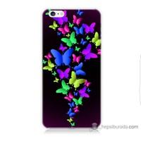 Bordo iPhone 6 Plus Kapak Kılıf Renkli Kelebekler Baskılı Silikon