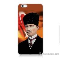 Bordo iPhone 6 Plus Kapak Kılıf Atatürk Ve Bayrak Baskılı Silikon